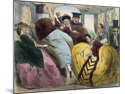 Caricature of First Class Train Car--Mounted Giclee Print