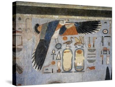 Mural Paintings of Vulture Goddess Nekhbet Grasping Amulet in Claws for Protection--Stretched Canvas Print