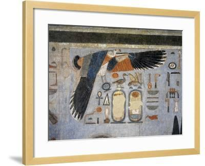Mural Paintings of Vulture Goddess Nekhbet Grasping Amulet in Claws for Protection--Framed Giclee Print