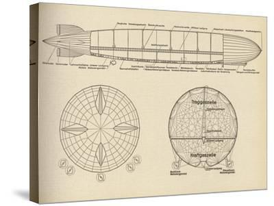 Diagram of the Interior of LZ 127 Graf Zeppelin, 1932--Stretched Canvas Print