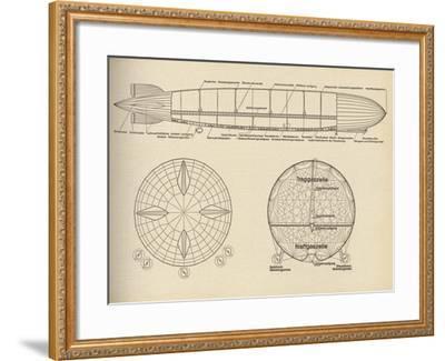 Diagram of the Interior of LZ 127 Graf Zeppelin, 1932--Framed Giclee Print