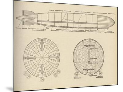 Diagram of the Interior of LZ 127 Graf Zeppelin, 1932--Mounted Giclee Print