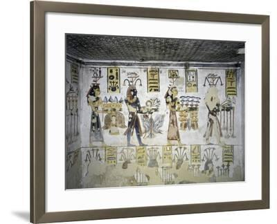 Egypt, Thebes, Luxor, Valley of the Kings, Tomb of Ramses III, Mural Painting of Ritual Offerings--Framed Giclee Print