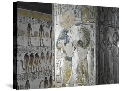 Egypt, Tomb of Seti I, Mural Paintings of God Ra and Pharaoh in Pillared Chamber from 19th Dynasty--Stretched Canvas Print