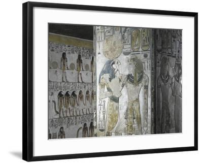 Egypt, Tomb of Seti I, Mural Paintings of God Ra and Pharaoh in Pillared Chamber from 19th Dynasty--Framed Giclee Print