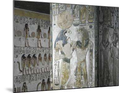 Egypt, Tomb of Seti I, Mural Paintings of God Ra and Pharaoh in Pillared Chamber from 19th Dynasty--Mounted Giclee Print