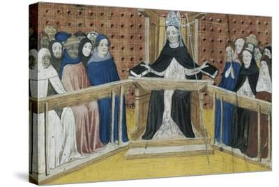Bishop on His Throne, Miniature from Summa De Casibus, Manuscript, 1329--Stretched Canvas Print