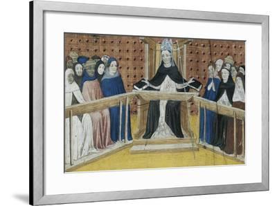 Bishop on His Throne, Miniature from Summa De Casibus, Manuscript, 1329--Framed Giclee Print