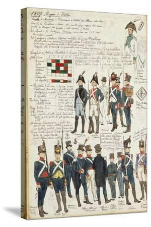 Various Uniforms of the Kingdom of Italy from 1807--Stretched Canvas Print