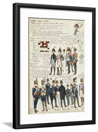 Various Uniforms of the Kingdom of Italy from 1807--Framed Giclee Print