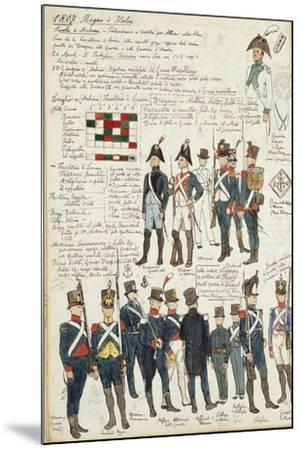Various Uniforms of the Kingdom of Italy from 1807--Mounted Giclee Print