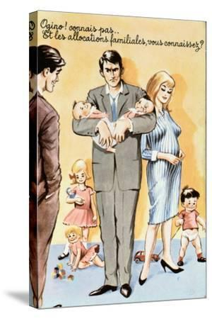 Caricature Postcard Referring to Contraception, C.1960--Stretched Canvas Print
