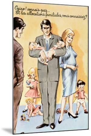 Caricature Postcard Referring to Contraception, C.1960--Mounted Giclee Print