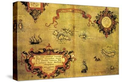 Map of Azores by Abraham Ortelius, 1528-1598, from Theatrum Orbis Terrarum, 1570--Stretched Canvas Print