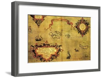 Map of Azores by Abraham Ortelius, 1528-1598, from Theatrum Orbis Terrarum, 1570--Framed Giclee Print