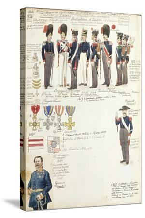 Various Uniforms of Duchy of Lucca, Color Plate, 1831-1847--Stretched Canvas Print