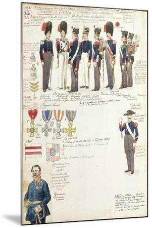 Various Uniforms of Duchy of Lucca, Color Plate, 1831-1847--Mounted Giclee Print