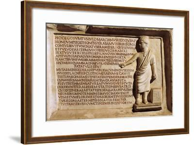 Funerary Stele of Child Poet Who Died at 7 Years of Age, from Vigna Amendola, Italy--Framed Giclee Print