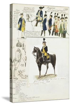 Various Uniforms of Duchy of Modena, Color Plate, 1796-1799--Stretched Canvas Print