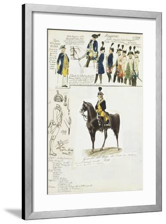 Various Uniforms of Duchy of Modena, Color Plate, 1796-1799--Framed Giclee Print