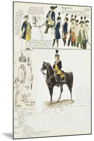 Various Uniforms of Duchy of Modena, Color Plate, 1796-1799--Mounted Giclee Print