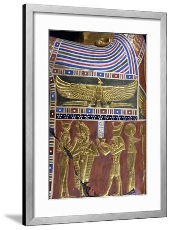 Divinity, Decorative Detail of Male Funerary Mask, Gilded and Painted Cartonnage, from Meir--Framed Giclee Print