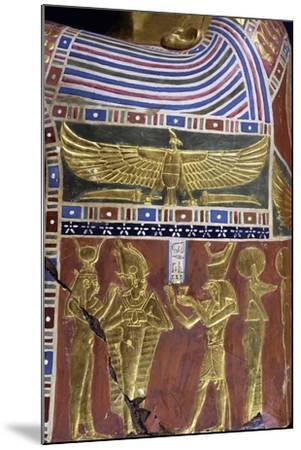 Divinity, Decorative Detail of Male Funerary Mask, Gilded and Painted Cartonnage, from Meir--Mounted Giclee Print