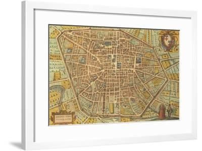 Map of Bologna from Civitates Orbis Terrarum--Framed Giclee Print