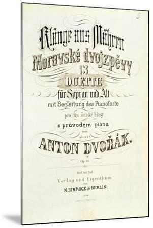 Moravian Duets by Dvorak--Mounted Giclee Print