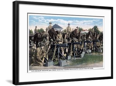 U. S. Cavalry Machine Gun Troop Showing Vickers-Maxim Watch Cooled Machine Guns, 1916--Framed Giclee Print