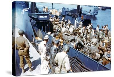 Soldiers of the 1st Infantry Division of the US Army Have Boarded the Landing Craft Transport--Stretched Canvas Print