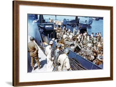 Soldiers of the 1st Infantry Division of the US Army Have Boarded the Landing Craft Transport--Framed Photographic Print
