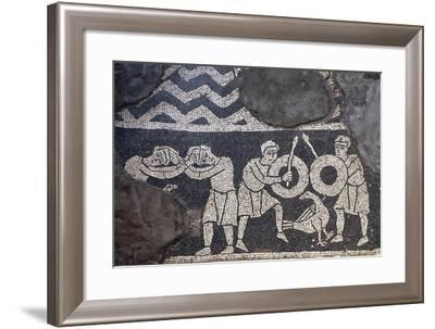Dueling Scene, Detail from the Mosaic Floor, the Crypt of the Basilica of San Savino, Piacenza--Framed Giclee Print