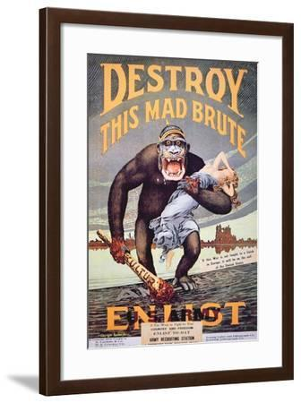 'Destroy This Mad Brute', World War One Recruitment Poster--Framed Giclee Print