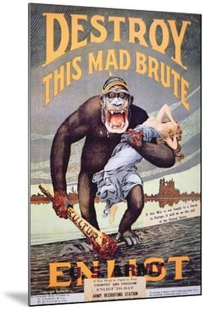 'Destroy This Mad Brute', World War One Recruitment Poster--Mounted Giclee Print