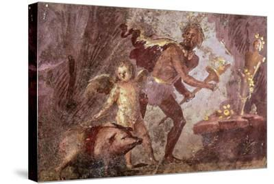 Fresco from Villa of Mysteries, Pompeii, Campania--Stretched Canvas Print