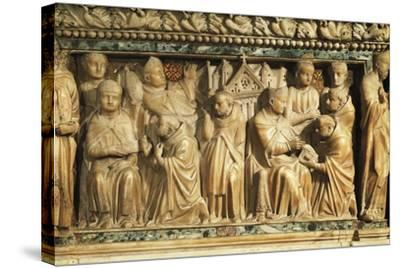 Relief Depicting Approval of Order by Pope Innocent Iii--Stretched Canvas Print