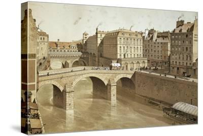 France, Paris, View of Petit Pont, Place Du Petit Pont and Hotel Dieu on Ile De La Cite, 1830--Stretched Canvas Print