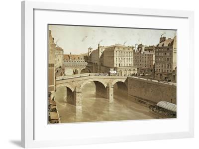 France, Paris, View of Petit Pont, Place Du Petit Pont and Hotel Dieu on Ile De La Cite, 1830--Framed Giclee Print