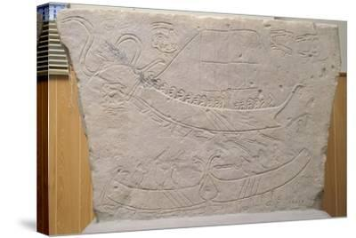 Stela Depicting Naval Battle, from Novilara, Marche, Italy, Piceno Civilization, 7th-6th Century BC--Stretched Canvas Print