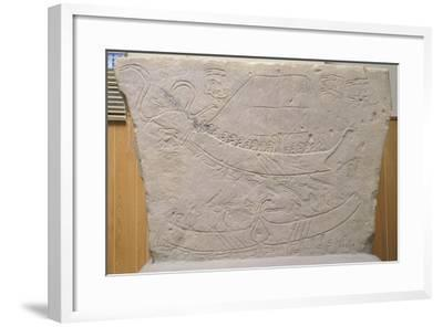 Stela Depicting Naval Battle, from Novilara, Marche, Italy, Piceno Civilization, 7th-6th Century BC--Framed Giclee Print