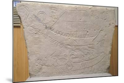 Stela Depicting Naval Battle, from Novilara, Marche, Italy, Piceno Civilization, 7th-6th Century BC--Mounted Giclee Print