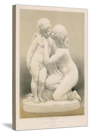 Nymph and Cupid by E Muller--Stretched Canvas Print