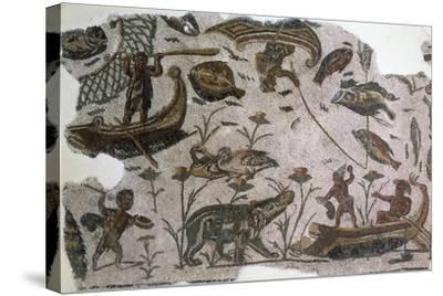 Pygmies, Fish, Ducks and Hippopotamus, Detail from Mosaic Depicting Nilotic Landscape--Stretched Canvas Print