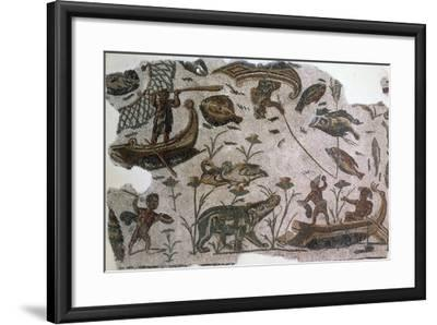 Pygmies, Fish, Ducks and Hippopotamus, Detail from Mosaic Depicting Nilotic Landscape--Framed Giclee Print