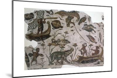 Pygmies, Fish, Ducks and Hippopotamus, Detail from Mosaic Depicting Nilotic Landscape--Mounted Giclee Print