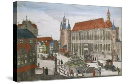 Germany, Aachen, Square with Town Hall and Karlsbrunner, 1701--Stretched Canvas Print