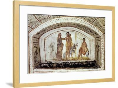 Alcestis in Front of Hercules and Cerberus, Via Latina Catacomb, Rome, Italy--Framed Giclee Print