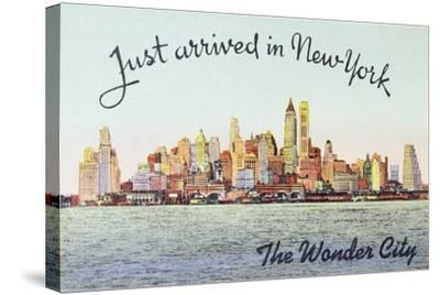 Just Arrived in New York' American Postcard--Stretched Canvas Print