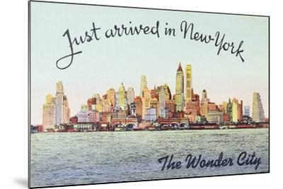 Just Arrived in New York' American Postcard--Mounted Giclee Print
